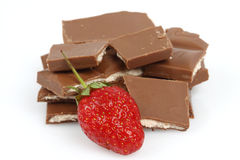 Strawberry and chopped chocolate Royalty Free Stock Photo