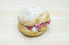 Strawberry chou cream Stock Image