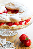 Strawberry choux pastry ring Royalty Free Stock Image