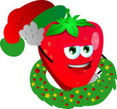 Strawberry with Christmas wreath and Santa hat Royalty Free Stock Photos