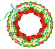 Strawberry circle frame Royalty Free Stock Images