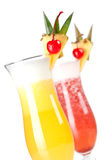 Strawberry and Classic Pina Colada cocktail Stock Photo