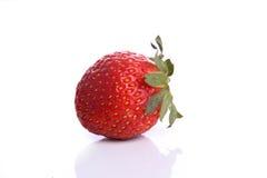 Strawberry. Closeup of single Strawberry fruit isolated against white background Royalty Free Stock Photos