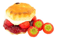 Strawberry And Clotted Cream Filled Scone Royalty Free Stock Photography