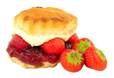 Strawberry And Clotted Cream Filled Scone Stock Photography