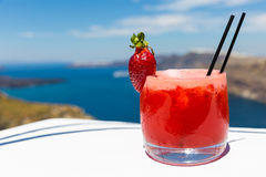 Strawberry cocktail on background of the sea Royalty Free Stock Photography