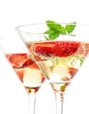Strawberry cocktail with berry in martini glass Stock Photos