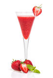 Strawberry cocktail in a champagne glass royalty free stock images