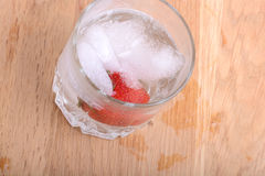 Strawberry cocktail in ice drink Royalty Free Stock Image