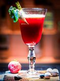 Strawberry cocktail with ice royalty free stock photography