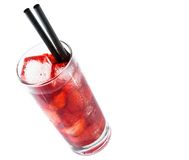 Strawberry cocktail with ice isolated and space for text Stock Photo