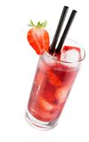 Strawberry cocktail with ice isolated with strawberry on top Stock Photography