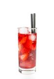Strawberry cocktail with ice isolated Royalty Free Stock Photos
