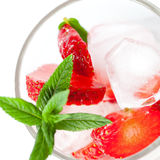 Strawberry cocktail with ice and mint Stock Photo