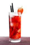 Strawberry cocktail with ice on old wood table Royalty Free Stock Images