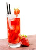 Strawberry cocktail with ice on old wood table Royalty Free Stock Photography