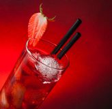Strawberry cocktail with ice with space for text Stock Image