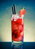 Strawberry cocktail with ice on wood table Stock Image