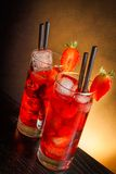 Strawberry cocktail with ice on wood Royalty Free Stock Photography