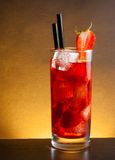Strawberry cocktail with ice on wood table and space for text Royalty Free Stock Images