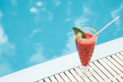 Strawberry cocktail. Near swimming pool Stock Photo