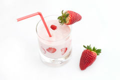 Strawberry and cocktail. Strawberry cocktail with tube on white background stock images