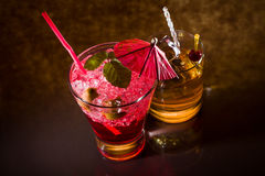Strawberry cocktail and whiskey liqueur glass Royalty Free Stock Photography