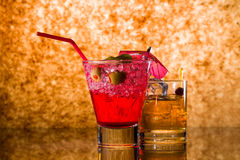 Strawberry cocktail and whiskey liqueur glass Stock Images