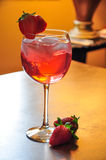 Strawberry cocktail. A wonderful refreshment cocktail, Strawberry paradise stock photo