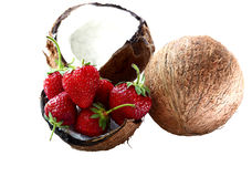 Strawberry and coconut Royalty Free Stock Photos