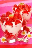 Strawberry  and coconut dessert Stock Image