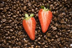 Strawberry coffee beans Stock Photography