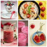Strawberry collage. Collage showing strawberry smoothies, fruits, jam and juice Stock Photography