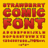 Strawberry comic font. Berry ABC. Red fresh fruit alphabet. Lett Stock Photo