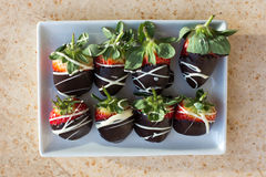 A strawberry compliment. A plate of strawberries in chocolate on a marble surface Stock Photo