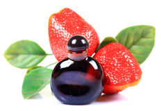 Strawberry concentrate bottle Stock Photo
