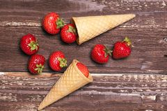 Strawberry in a cone Stock Images