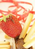 Strawberry with cookies and chocolate Royalty Free Stock Photo