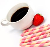 Strawberry Cookies Coffee Means Caffeine Cafe And Decaf. Coffee Cookies Break Indicating Bicky Coffees And Cafe royalty free stock images