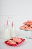 Strawberry Cookies and Milk. Fresh strawberry cookies with milk Stock Photos