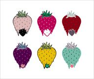 Strawberry cool colors cartoon illustration set. Strawberry sweet vector  illustration  in bright colors set of six on white background  Fragaria  ananassa Stock Images