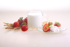 Strawberry, cottage cheese and milk in a transparent mug on a wh. Ite background royalty free stock photo