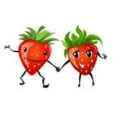 Strawberry couple cartoon Stock Photography