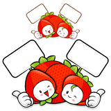 Strawberry Couple characters to promote fruit selling Royalty Free Stock Image