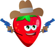 Strawberry cowboy with gun Royalty Free Stock Images