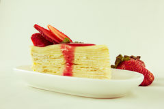 Strawberry crape cake Stock Photo