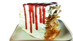 Strawberry Crape Cake. Topping with strawberry jam Stock Image