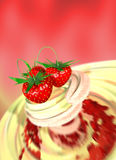 Strawberry in a cream Royalty Free Stock Image