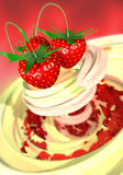 Strawberry in a cream. 3d Strawberry in a cream Royalty Free Stock Photography