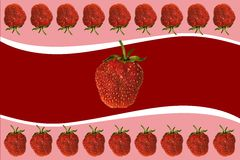 Strawberry and cream. Picturesque background with strawberry and yoghurt Royalty Free Stock Image